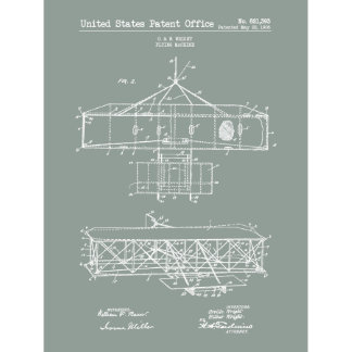 Wright Bros. US Patent Office Flying Machine Print
