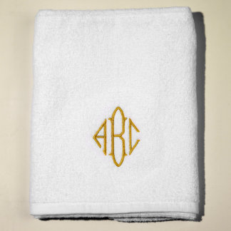 Gold Monogrammed Sunny Lane White Terry Bath Towel