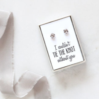 White Gold Plated Knot Bridesmaid Earrings