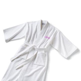 White Kimono-style Embroidered Ladies Cotton Robe