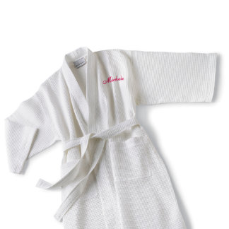 Embroidered White Waffle Cotton-Poly Blend Kimono