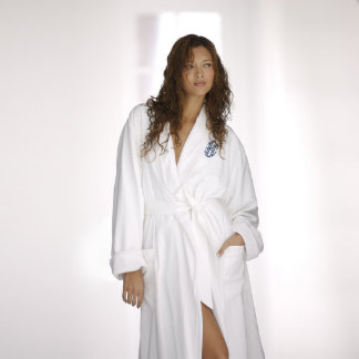 Embroidered Monogrammed White Microfiber Robe