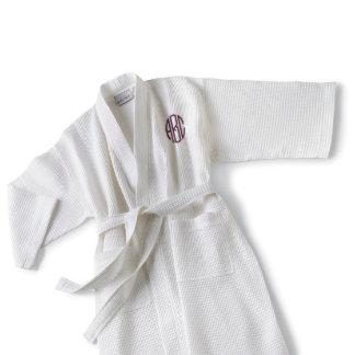Monogrammed White Waffle Cotton-Poly Blend Kimono
