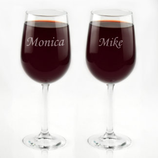 His & Hers Custom Engraved Tall Wine Glass Set