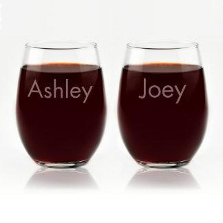 Custom Engraved His & Hers Stemless Wine Glasses