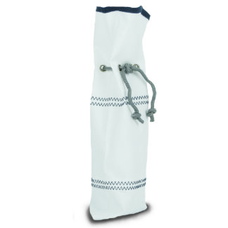 White w/Blue Trim Sail Cloth Wine Bag