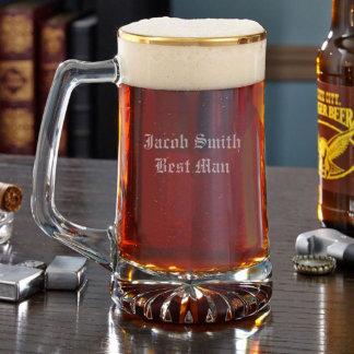 Taza de cerveza personalizada con borde de oro