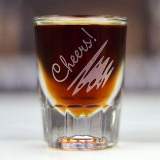 """Personalized Engraved Shot Glass """"Cheers!"""""""