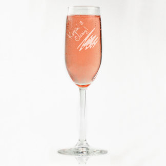 Custom Engraved Squiggly Design Champagne Flute