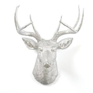 Metallic Silver Stag Deer Head