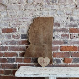 Custom Mississippi Wooden Wedding Guestbook