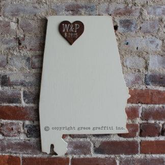 Custom Alabama State Wooden Wedding Guestbook