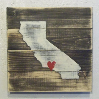 10x10 Distressed Wood California Map