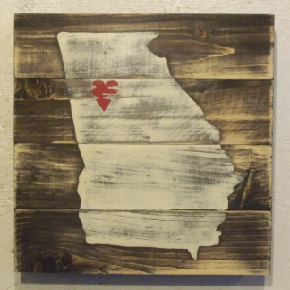 10x10 Hand Painted Wood Georgia Map