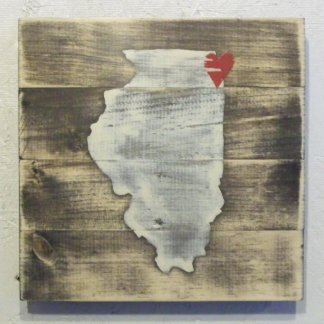 10x10 Handcrafted Wood Illinois Map