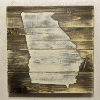 10x10 Handcrafted Wood Georgia Map