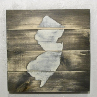 10x10 Rustic Wood New Jersey Map