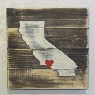 10x10 Hand Painted Wood California Map