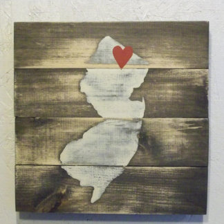 10x10 Hand Painted Wood New Jersey Map