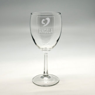 Personalized Sand Etched Wine Glass w/Heart