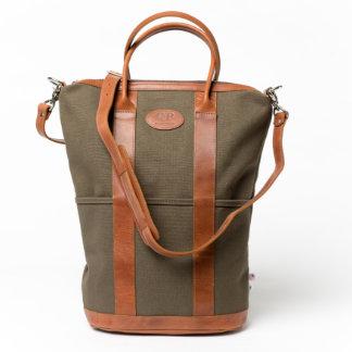 Large Brown Leather and Green Canvas Helmet Bag