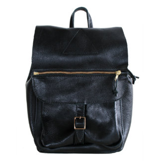 Black Leather Aruba Backpack With Custom Interior