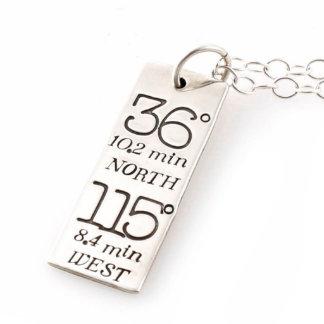 Typography Custom Coordinates Necklace - Silver