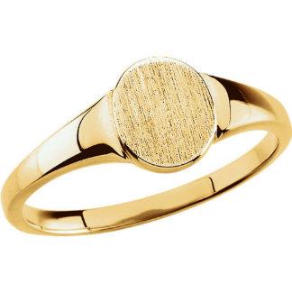 Custom Engraved 10K Yellow Gold Oval Signet Ring