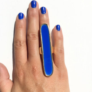 Blue Prism Dancer Resin and Brass Ring