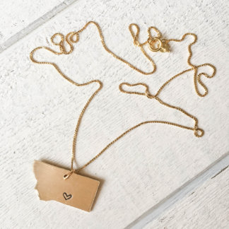 Brass Montana Love Necklace with Box Chain