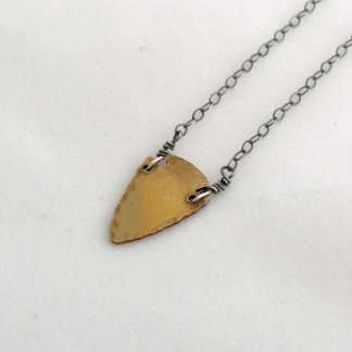 Brass Arrowhead Necklace w/Silver Box Chain
