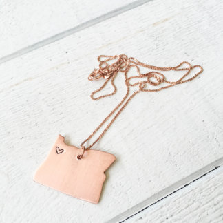 Copper Hand Stamped Oregon Love Necklace