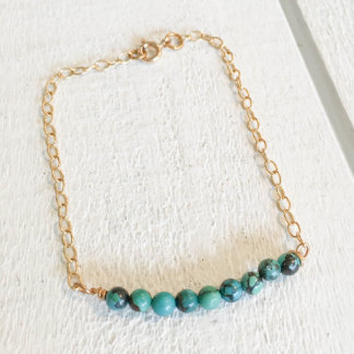 Turquoise Bead Bracelet with Gold Chain