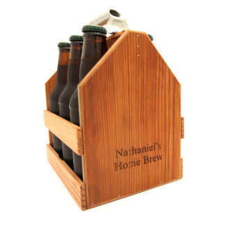 Handcrafted Wood Six Pack Carrier w/Bottle Opener