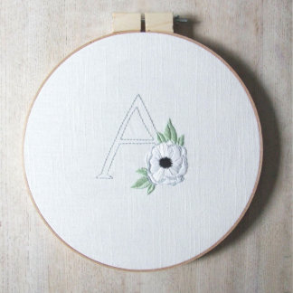 Floral Alphabet Embroidery Hoop Wall Art