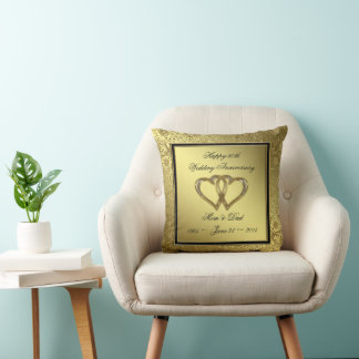 50th Wedding Anniversary Personalized gold Throw Pillow ... |50th Wedding Anniversary Pillows