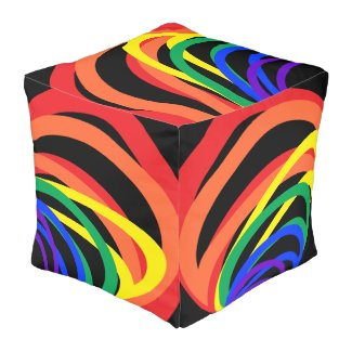 Rainbow Color Crescents Abstract Cube Pouf