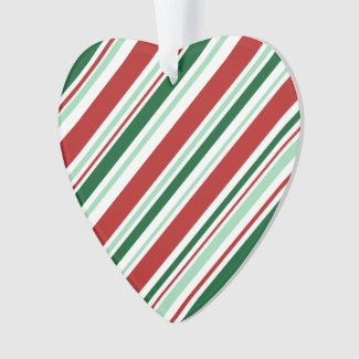 Christmas Candy Stripes: Red/Mint Green/Dark Green Ornament