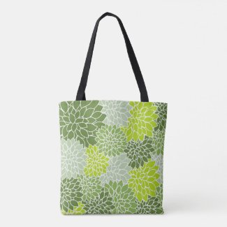Lovely Floral Green All Over Print Tote Bag