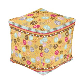 Christmas snowflakes ornament Cube Pouf