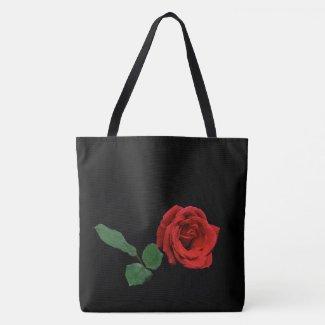 Single Red Rose Garden Flower Floral Tote Bag