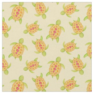Turtles on the sand watercolor art pattern fabric