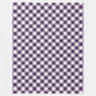 Purple and White Diagonal Buffalo Plaid Fleece Blanket