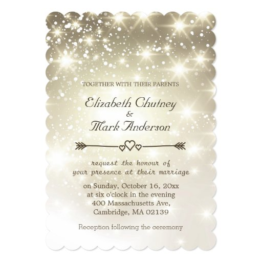 Twinkle Lights Outdoor Wedding 5x7 Paper Invitation Card
