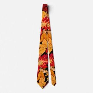 Autumn Foliage in Red Orange Yellow Brown Neck Tie