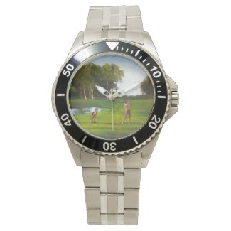 Stainless Bracelet Watch with handpainted golf scn