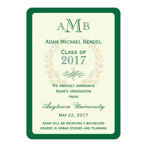 "Green Elegant Monogram Graduation Announcement 5"" X 7"" Invitation Card (front side)"