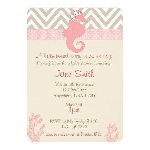 "Beach Baby Seahorse Baby Shower Invitation 5"" X 7"" Invitation Card"