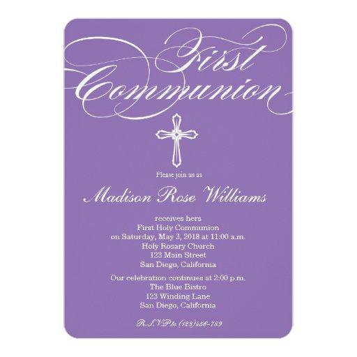"""Modern Elegant Cross Communion Invite for Girls 5"""" X 7"""" Invitation Card"""