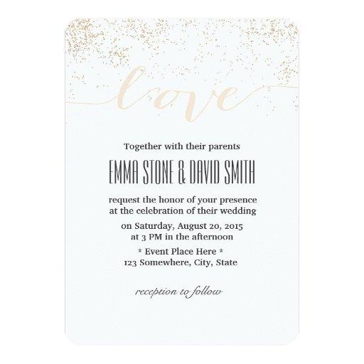 Classy Confetti Dots Script Love Wedding 5x7 Paper Invitation Card